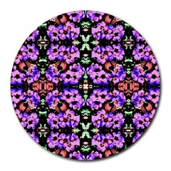 Purple Green Flowers With Green Round Mousepads