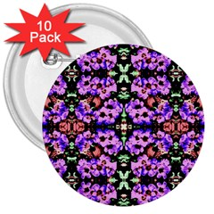 Purple Green Flowers With Green 3  Buttons (10 Pack)
