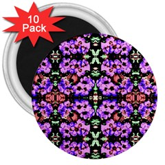Purple Green Flowers With Green 3  Magnets (10 Pack)  by Costasonlineshop