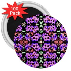 Purple Green Flowers With Green 3  Magnets (100 Pack) by Costasonlineshop