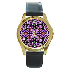 Purple Green Flowers With Green Round Gold Metal Watches