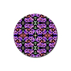 Purple Green Flowers With Green Rubber Coaster (round)  by Costasonlineshop