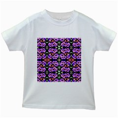 Purple Green Flowers With Green Kids White T Shirts by Costasonlineshop