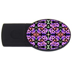 Purple Green Flowers With Green Usb Flash Drive Oval (2 Gb)