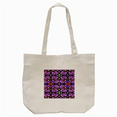 Purple Green Flowers With Green Tote Bag (cream)  by Costasonlineshop