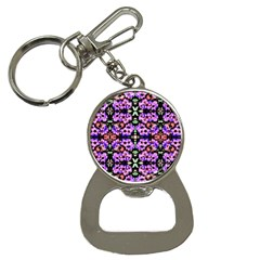 Purple Green Flowers With Green Bottle Opener Key Chains