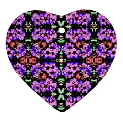 Purple Green Flowers With Green Heart Ornament (2 Sides)