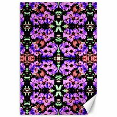 Purple Green Flowers With Green Canvas 12  X 18   by Costasonlineshop