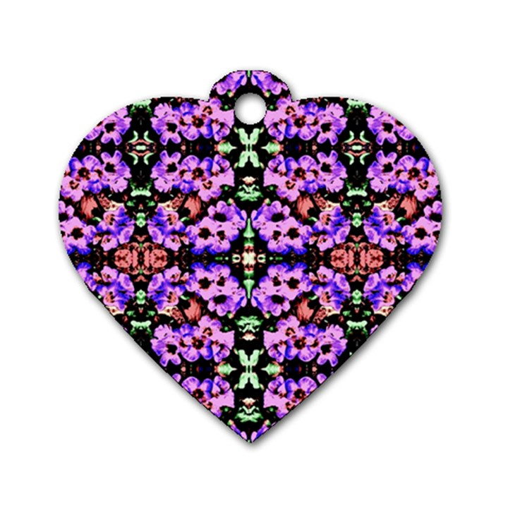 Purple Green Flowers With Green Dog Tag Heart (One Side)