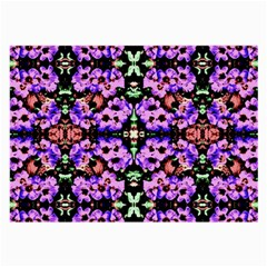 Purple Green Flowers With Green Large Glasses Cloth