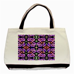 Purple Green Flowers With Green Basic Tote Bag (two Sides)  by Costasonlineshop