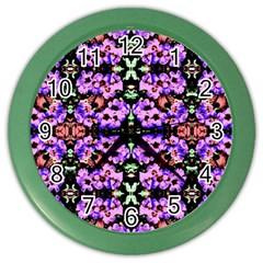 Purple Green Flowers With Green Color Wall Clocks by Costasonlineshop