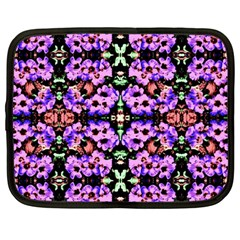 Purple Green Flowers With Green Netbook Case (large) by Costasonlineshop