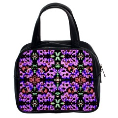Purple Green Flowers With Green Classic Handbags (2 Sides)