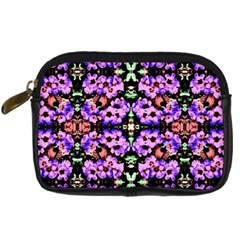 Purple Green Flowers With Green Digital Camera Cases by Costasonlineshop