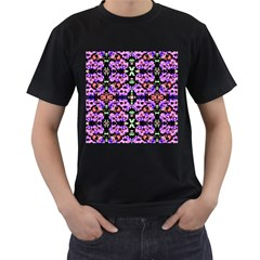 Purple Green Flowers With Green Men s T-Shirt (Black) by Costasonlineshop