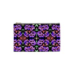 Purple Green Flowers With Green Cosmetic Bag (small)  by Costasonlineshop