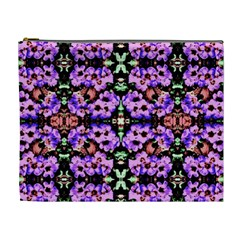 Purple Green Flowers With Green Cosmetic Bag (xl) by Costasonlineshop