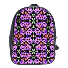 Purple Green Flowers With Green School Bags(large)