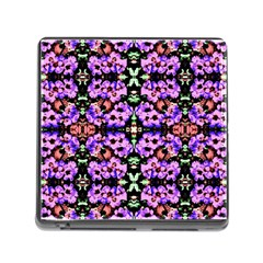 Purple Green Flowers With Green Memory Card Reader (square) by Costasonlineshop