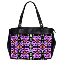 Purple Green Flowers With Green Office Handbags (2 Sides)