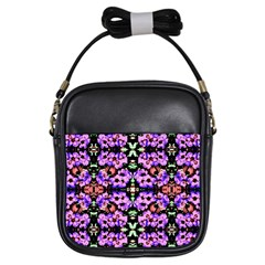 Purple Green Flowers With Green Girls Sling Bags by Costasonlineshop