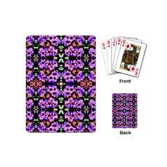 Purple Green Flowers With Green Playing Cards (mini)