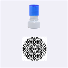 Purple Green Flowers With Green Rubber Round Stamps (small) by Costasonlineshop