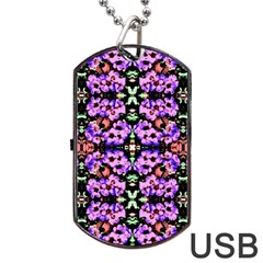 Purple Green Flowers With Green Dog Tag Usb Flash (one Side) by Costasonlineshop