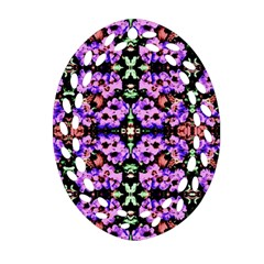 Purple Green Flowers With Green Oval Filigree Ornament (2 Side)  by Costasonlineshop