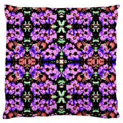 Purple Green Flowers With Green Large Cushion Cases (two Sides)  by Costasonlineshop