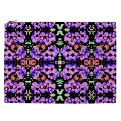Purple Green Flowers With Green Cosmetic Bag (xxl)  by Costasonlineshop