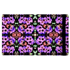 Purple Green Flowers With Green Apple Ipad 3/4 Flip Case by Costasonlineshop