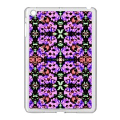 Purple Green Flowers With Green Apple Ipad Mini Case (white) by Costasonlineshop
