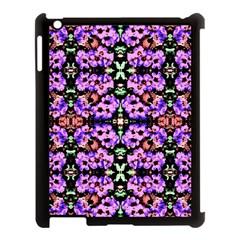 Purple Green Flowers With Green Apple Ipad 3/4 Case (black) by Costasonlineshop