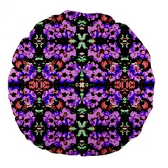 Purple Green Flowers With Green Large 18  Premium Round Cushions by Costasonlineshop