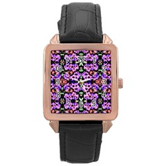 Purple Green Flowers With Green Rose Gold Watches by Costasonlineshop
