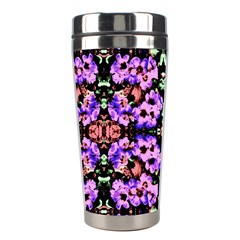 Purple Green Flowers With Green Stainless Steel Travel Tumblers by Costasonlineshop