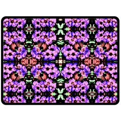 Purple Green Flowers With Green Double Sided Fleece Blanket (large)  by Costasonlineshop