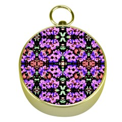 Purple Green Flowers With Green Gold Compasses