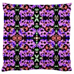 Purple Green Flowers With Green Large Flano Cushion Cases (two Sides)  by Costasonlineshop