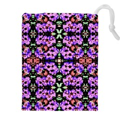 Purple Green Flowers With Green Drawstring Pouches (xxl) by Costasonlineshop