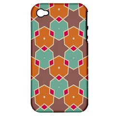 Stars And Honeycombs Patternapple Iphone 4/4s Hardshell Case (pc+silicone) by LalyLauraFLM