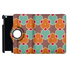 Stars And Honeycombs Pattern			apple Ipad 3/4 Flip 360 Case by LalyLauraFLM