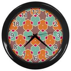 Stars And Honeycombs Pattern			wall Clock (black) by LalyLauraFLM