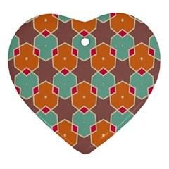 Stars And Honeycombs Pattern			ornament (heart) by LalyLauraFLM