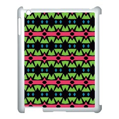 Shapes On A Black Background Pattern			apple Ipad 3/4 Case (white) by LalyLauraFLM