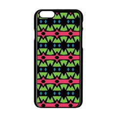 Shapes On A Black Background Pattern			apple Iphone 6/6s Black Enamel Case by LalyLauraFLM