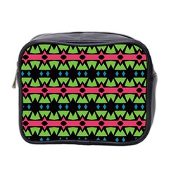Shapes On A Black Background Pattern Mini Toiletries Bag (two Sides) by LalyLauraFLM