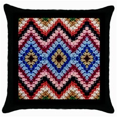 Colorful Diamond Crochet Throw Pillow Cases (black) by Costasonlineshop